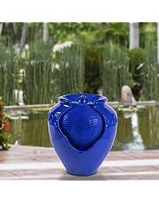 Pure Garden 50-LG1184 Jar Fountain (Cobalt Blue)