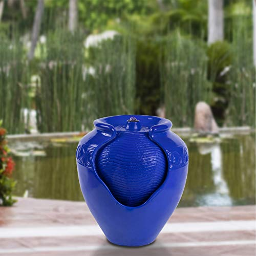 Pure Garden 50-LG1184 Jar Fountain - Indoor or Outdoor Ceramic-Look Glazed Pot Resin Water Feature with Electric Pump and LED Lights (Cobalt -