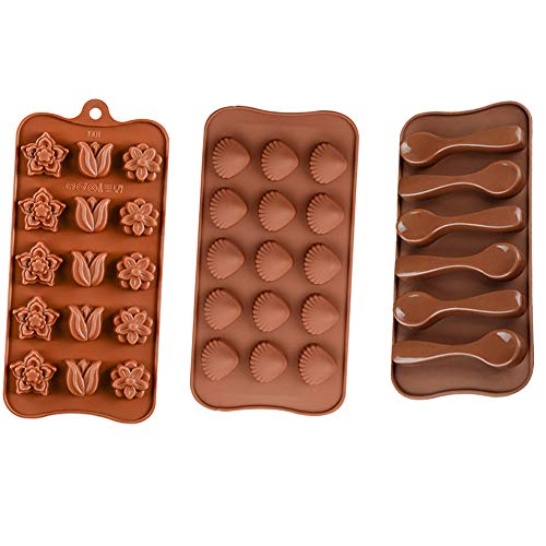 ARTEM 3Pcs Chocolate Molds Silicone Mold with Flower Shell Spoon Shape for DIY,Handmade,Cake Decorating,Candy,Jelly