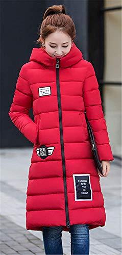 Rot Casual Con Retro Autunno Calda Alto Donna Collo Confortevole Inverno Manica Trapuntato Tasche Da Giacca Cappotto Cappuccio Cerniera Lungo UC8dzqUw1