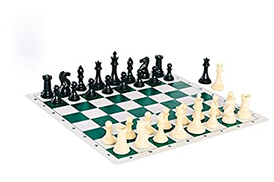 Chessbuzz Quadruple Weight Tournament Professional Chess Game Set - Chess Board Game with Natural Chess Pieces, Green Vinyl Board