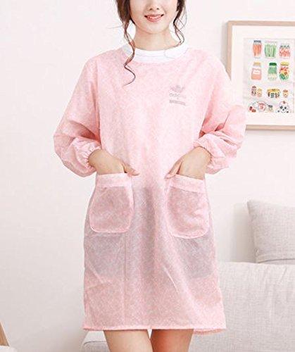 カラー:ピンクキッチンoil-proof長袖エプロンMen and Women anti-wear防水大人用ガウンby shopidea   B073P974RK
