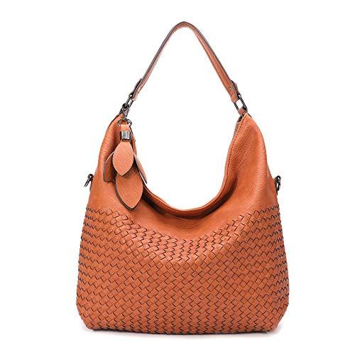 BIG SALE-Hobo Handbags, PU Leather Purses Tote Cross Body Shoulder Bags Bucket Bag for Women Office (Brown2)
