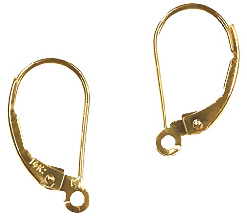 14K Solid Gold Earwires Leverbacks Open Ring