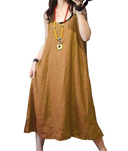 J00 Loose Crew Neck Real Baggy Dress Casual Pocket Yb4 Linen Long Sheer 100 Yellow Maxi Women YESNO dq7Ttd