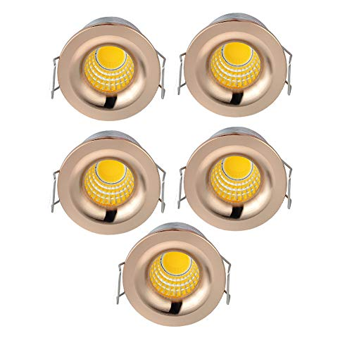 INHDBOX 5 Pack 3W Mini COB Recessed Ceiling Downlight Kit Warm White - Rose Gold Aluminum Light Cover & PC Mirror With LED Driver-Warm -