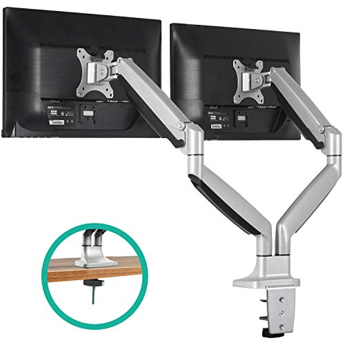 (EleTab Dual Monitor Mount Stand Full Motion Swivel Gas Spring LCD Arm Fits for 2 Computer Screens 13 to 32 inches - Each Arm Holds up to 19.8 lbs )