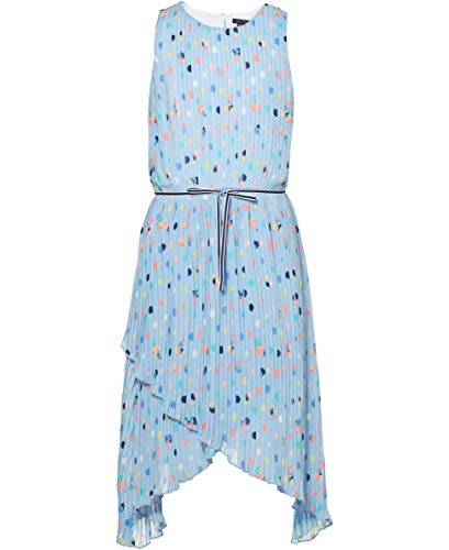 Tommy Hilfiger Big Girl's Big Girls' Short Sleeve Fashion Dress Dress, Printed Chambray Blue, S7