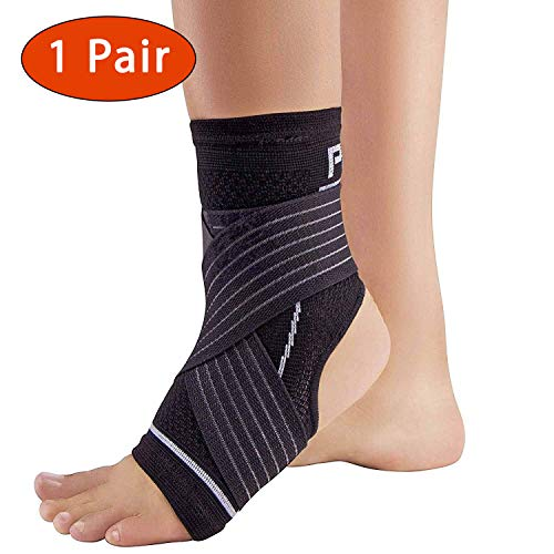 Ankle Support Brace with Open-Heel – Compression Sleeve with Adjustable Strap – Great for Running, Ankle Sprains (L/XL, 1 Pair – Black)