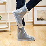 ARUNNERS White Clear Rain Shoes Covers Boots Overshoes Galoshes for Women Girl(M)