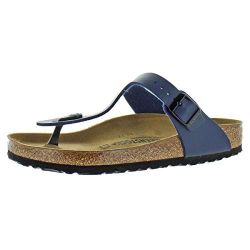 Suede Like Peep Toe - Birkenstock Womens Gizeh Slide Sandal, Blue, 39 M EU