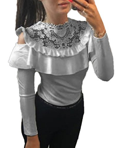 Bustier Volants pissure Slim Tops Longues Blouse Shirt Chemisier JackenLOVE T Col Femme Pull Haut Sexy Manches Rond Dentelle Gris Y60A7w