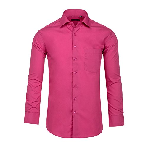 (Luxton Cotton Poly Shirt Collection Slim Fit (Fuchsia 636S,Small/Neck:14-14 1/2, Sleeve:32/33))