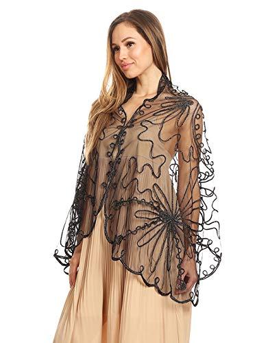 - Anna-Kaci Women's 1920s Scarf Mesh Sequin Wedding Cape Evening Shawl Wrap Cape Sequin Deco Paisley Flapper Cover up,Black,One size