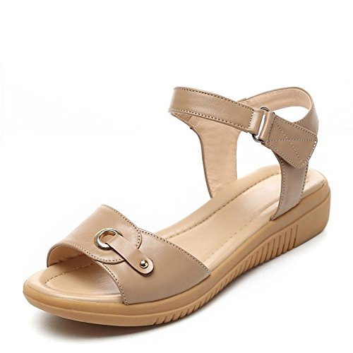 QL@YC Frauen Sandalen Sommer Flache High Heels Leder Soft Skid Anti Skid Großes Kleid Frauen Schuhe , brown , 39