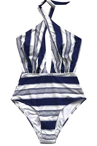 (CUPSHE Women's Rose Garden Cross Ruched Wrap One-Piece Swimsuit (Medium, Navy/White Thin))