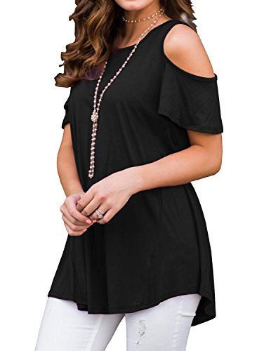 PrinStory Womens Short Sleeve Casual Cold Shoulder Tunic Tops Loose Blouse Shirts