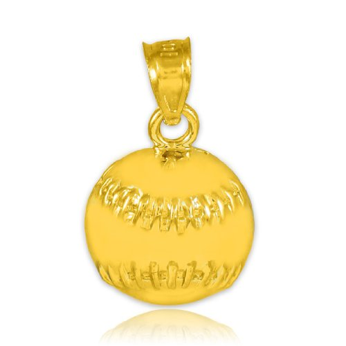 10k Gold Baseball Pendant - 10k Gold Baseball/Softball Sports Charm Pendant