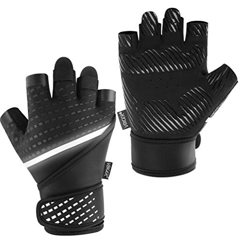 VBG VBIGER Workout Gloves for Men Women, Exercise Gloves with Wrist Support for Fitness Pull Ups Cross Training Weight Lifting Cycling Gym Gloves (Black, Large)