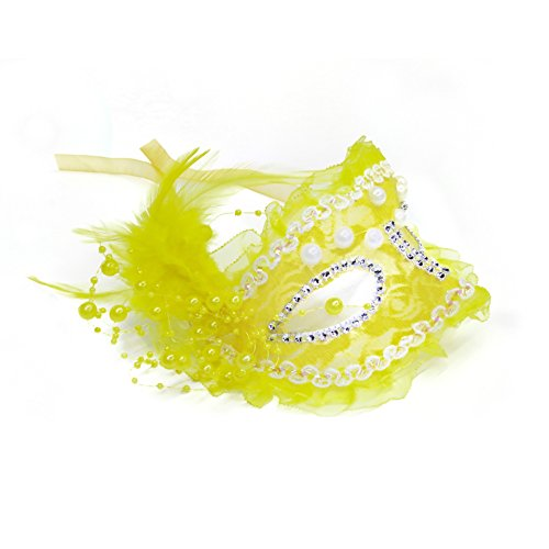 Pearl Lace Feather Mask Floral Mardi Gras Masquerade Venetian Costume Masks