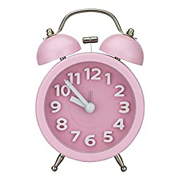 Pilife 3 No-ticking Mute Quartz Analog Clock Loud Double Bell Bedside Table Alarm Clock,Unique 3D Numerals Design,with Night Light (Pink)