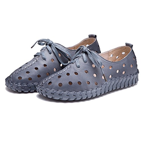 Shoes Casual Outdoor Stitching Fashion Grey Flat Womens Up Hollow Soft Breathable Leather Lace Shoes Socofy xPqRO7n