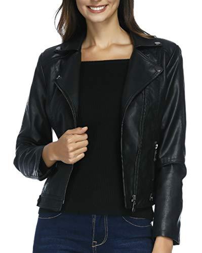 Jacket Ladies Motorcycle Black (Women's Faux Leather Moto Biker Jacket Pockets Casual Slim Motorcycle PU Faux Leather Jacket Coat (Black XL))
