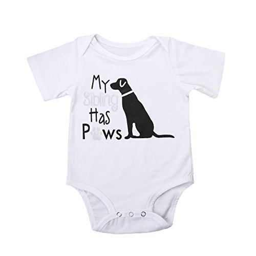 My Siblings Has paws Body Suit - Cute One-piece Infant Bodysuit Baby Romper (0-6M, Sliver short sleeve)