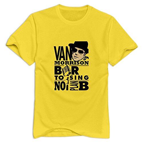 Van Morrison Man Tee Shirts Size Large Yellow
