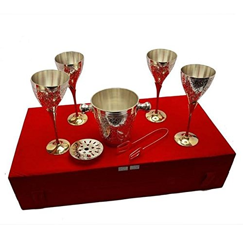 TUZECH Silver Plated Royal Brass Wine Glass With Ice Bucket Set Of 4 Pcs Dining Set Cutlery Buisness Gift