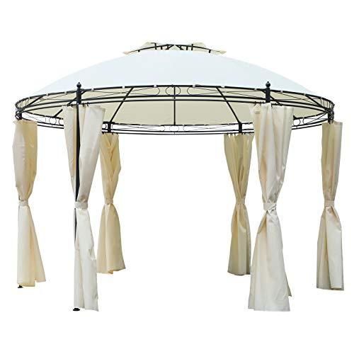 Outsunny 11.5' Steel Fabric Round Soft Top Outdoor Patio Dome Gazebo Shelter with Curtains - Cream White (Backyard Detached Decks)