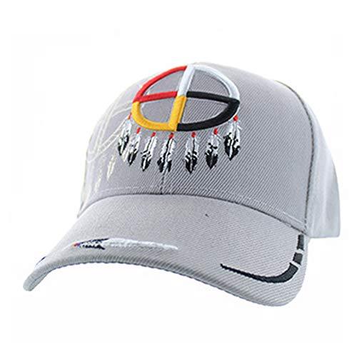 Native American Pride Medicine Wheel Baseball Adjustable Hat Cap Light Grey