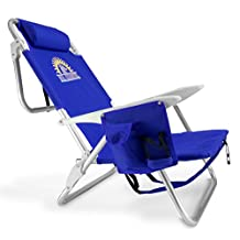 Sol Coastal 4-Position Lay Flat Beach Chair with Carry Straps and Storage Pouch, Blue