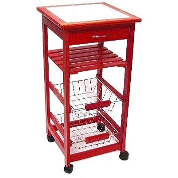 meuble rangement cuisine bois rouge ceramique blanc 37x37x76 cm