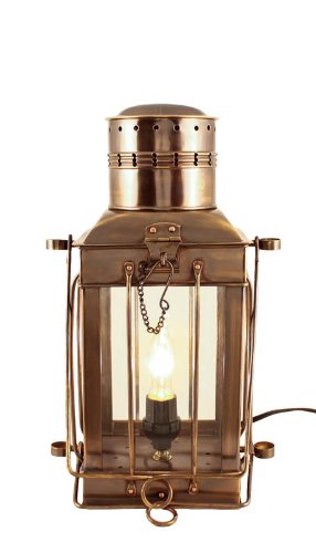 Electric Oil Lamps  Antique Brass Cargo Lamp 15u0026quot;   Patio Lantern