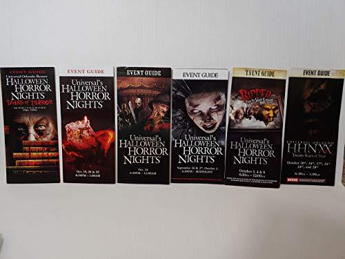 Halloween Night Events (HHN Halloween Horror Nights 15-20 Event Guide Map (Set of 6) Years 2005-2010 Universal Studios)