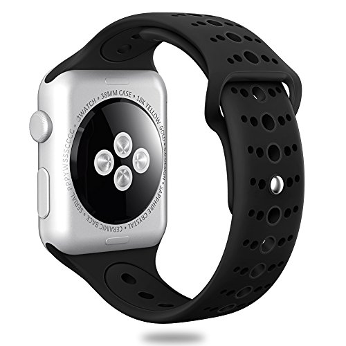 Valband Comppatible for Apple Watch Band 38mm 42mm, Soft Silicone Sport Band Strap Replacement iWatch Bands for Apple Watch Nike Series 3,Series 2,Series 1 (38mm, Black)