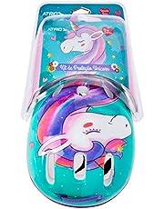 Kit de Proteção Atrio Infantil Unicorn com Capacete Cotoveleiras Joelheiras e Luva Tam. Único Indicado para +3 Anos Rosa/Azul - ES199