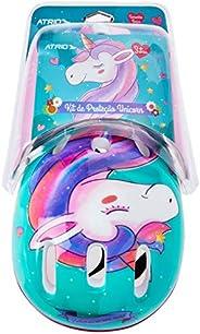 Kit de Proteção Atrio Infantil Unicorn com Capacete Cotoveleiras Joelheiras e Luva Tam. Único Indicado para +3