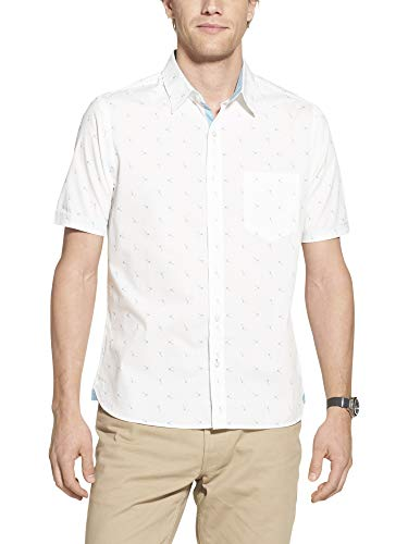 - Geoffrey Beene Men's Slim Fit Easy Care Short Sleeve Button Down Shirt, Bright White Flamingo Print, X-Large