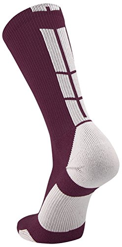 TCK Sports Elite Performance Crew Socks, Maroon/White, Large