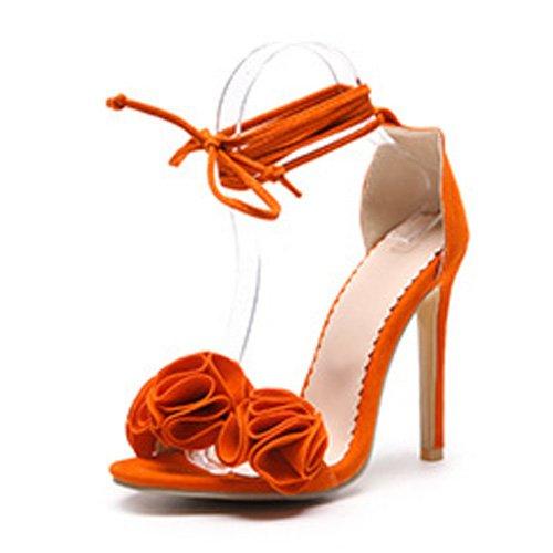 JUWOJIA Mujeres Sandalias Lace-Up Cross-Tied Flores De Verano Zapatos De Tacones Finos para Calzado Femenino Naranja