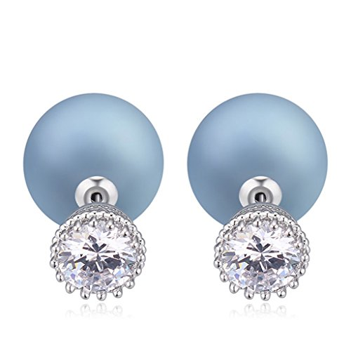 Vintage Blue Pearl Earring AAA Zirconic Stud - Guys Glasses Fake For