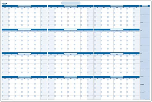 Sky Blue Large Undated Horizontal Yearly Dry-erase Wall Calendar: No Months Listed - 32 in. x 48 in (BL-MA-NM) ()