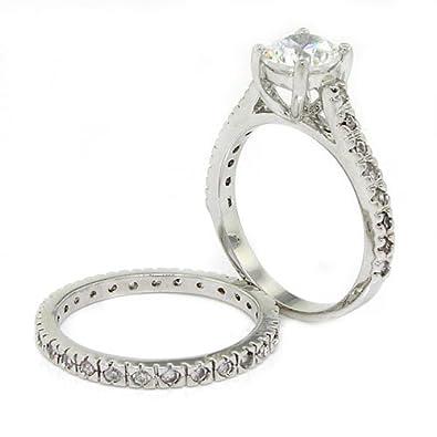 Amazoncom ClassicVintage Wedding Ring Set wWhite CZs Alljoy