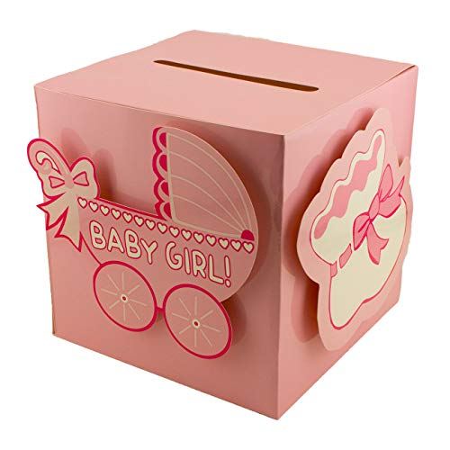 Tytroy Baby Shower Wishing Well Card Box Cute Decoration Rattle Pretty Keepsake Carriage (Pink)
