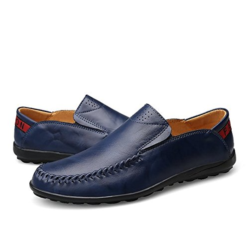 il Mocassini in pelle Blu Comfort 38 da libero Dimensione Hongjun Color EU Mocassini uomo shoes tempo Mocassini slip guida on per da 2018 uomo PRwavq