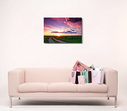 Beautiful Sunset and Country Road on Green Field Home Deoration Wall Decor