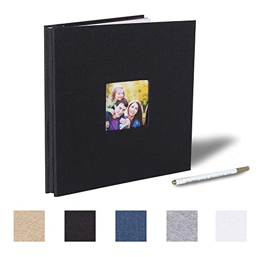 Self Adhesive Photo Album Magnetic Scrapbook Album 40 Magnetic Double Sided Pages Fabric Hardcover DIY Photo Album Length 11 x Width 10.6 (Inches) with A Metallic Pen (Black) ()