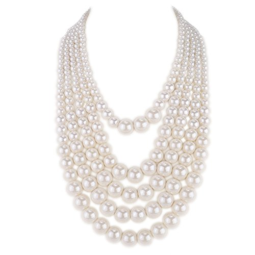 Kalse 5 Layers Strand Simulated Pearl Strand Bib Pendant Necklace White (5 Strands)